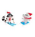 skiing raccoon and sledding hippo winter activity vector image vector image