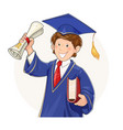 student in graduate suit vector image vector image