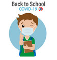 student with a mask vector image vector image