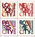 T-shirt design set NYC London Rome Paris vector image vector image