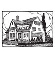 three story house vintage vector image vector image