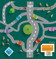 Top View City Map Abstract Town Flat Design vector image vector image