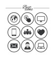 web mobile devices icons share mail signs vector image