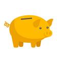 yellow piggy bank cartoon vector image