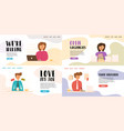 a girl with a flat banner got a new job vector image
