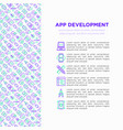 app development concept with thin line icons vector image vector image