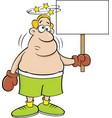 cartoon boxer holding a sign vector image vector image