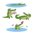 cartoon crocodiles on nature isolated vector image vector image