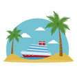 cartoon cruise ship tropical beach palm tree vector image vector image