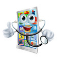 cell phone man holding a stethoscope vector image vector image