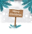 Christmas Background with Snow Covered Wooden vector image