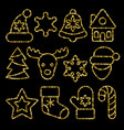 christmas toys set from gold outline sequins vector image vector image