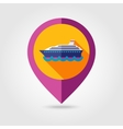 Cruise liner ship flat mapping pin icon vector image
