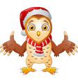 cute cartoon owl in a santa hat vector image vector image