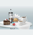 dessert and coffee vector image vector image