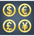 Dollar Euro Pound and Yen gold signs collection vector image