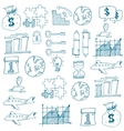 Doodle of business set on white backgrounds vector image