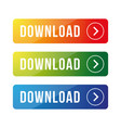 download button set colorful vector image vector image