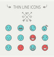 emoji thin line icon set vector image