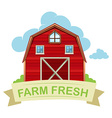 Farm fresh barn on white vector image vector image