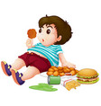 fat boy eating junkfood vector image vector image