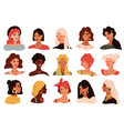 female portrait women trendy images collection vector image