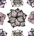 Floral doodling seamless pattern in tattoo style vector image vector image