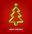 Folded paper Christmas green tree on a red vector image