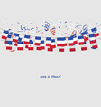 france garland flag with confetti vector image vector image