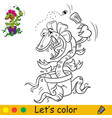 funny carnivorous plant coloring with colorful vector image