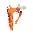 giraffe smoke tobacco pipe funny crazy african vector image vector image