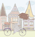 GirlAndHouses vector image