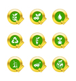 Gold circle and check mark with eco icons isolated vector image