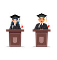 graduate boy and girl solemn tribune speech vector image