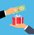 hands with money and gift box vector image vector image