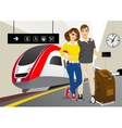 happy couple standing in the train station vector image vector image