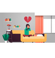 heartbroken woman in depression sitting on couch vector image vector image