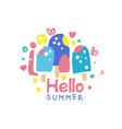 Hello summer logo design label for summer holiday