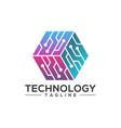 hexagon technology logo template vector image