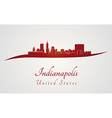 Indianapolis skyline in red vector image