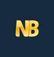 initial letters nb n b with logo design vector image