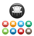 kid trampoline icons set color vector image