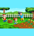 little farmers are harvesting the results of their vector image