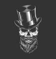male skull in gentleman cylinder hat