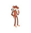 monkey standing with smartphone cute animal vector image