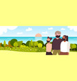 parents with daughter walking outdoors family vector image vector image