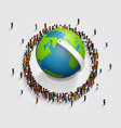 people surrounded the globe 3d isometric vector image vector image