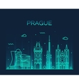 Prague skyline trendy linear vector image vector image