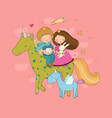 prince and princess are flying on a unicorn cute vector image vector image