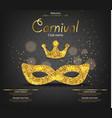 princess carnival golden glitter mask vector image vector image